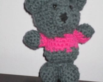 Gray and pink bear crochet Amigurumi