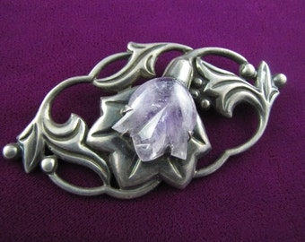 Vintage Mexican Silver Amethyst Flower Brooch - Very Large