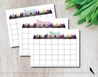 2018 Printable Wall Calendar - Mountain Wall Calendar - Home, Office, Family Calendar - Outdoors Calendar - Instant Download Calendar