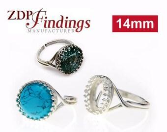 1pcs x Round 14mm Quality Cast Bezel Cup Ring Setting Sterling Silver 925 Fit Swarovski Rivoli 1122 Crystal, Choose Your Finish (8481SV)