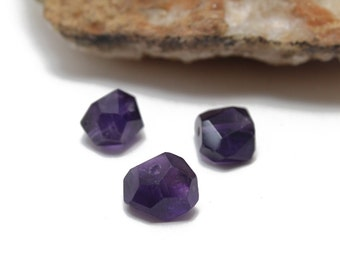 Genuine Faceted Amethyst Nuggets Approx. 8x12mm 2 pcs