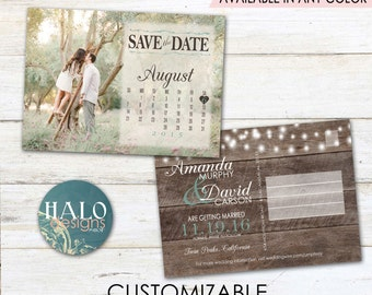 Rustic Wedding Save the Date Calendar Postcard - printable card