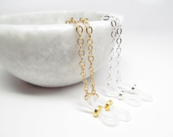 Silver and Gold Eyeglass Chains Pair; Glasses Chain; Reading Glasses Necklace Holder; Eye Glass Chain; Glasses Leash; Chain for Readers