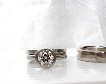 Texturé mariage bague sertie GIA certifié 1ct diamant or blanc lunette ensemble bague de fiançailles avec correspondance des bandes