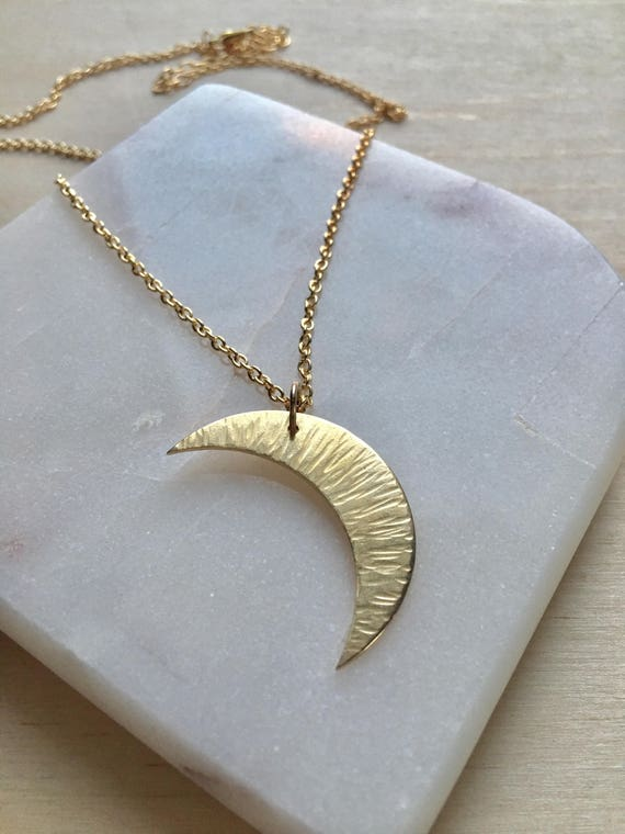 Brass Crescent Moon Necklace. Unique handmade lunar pendant,