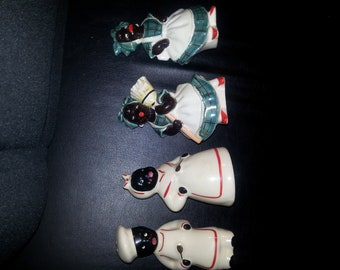Four Black Face Salt and Pepper Shakers Which Features One Pair of Housemaids and One Pair of Cooks.