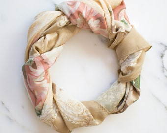 Echo 100% Silk Scarf, Beige Tones with Floral Design, Hand Rolled Edges, Made in Japan