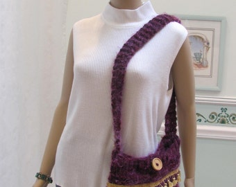 DESIGNER KNIT HANDBAG: Aubergine/ Purple, Handbag/ purse, hand knitted,  made of imported, turkish yarn and acrylic wool in cranberry