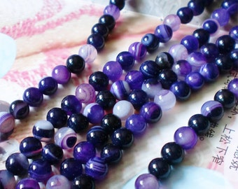 Purple Agate Beads Supplies, Full Strand 6mm Round Purple Agate Gemstone Beads for DIY Jewelry Making