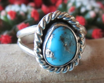 Beautiful Navajo Stormy Mountain Turquoise, Silver Ring, Signed R.O. Size 7