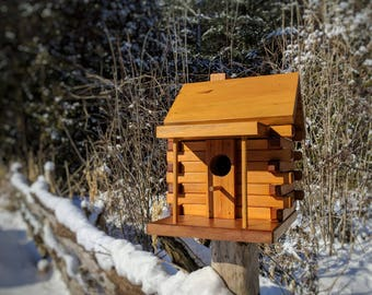 Log Cabin Birdhouse, Rustic Bird House, Handmade in Canada