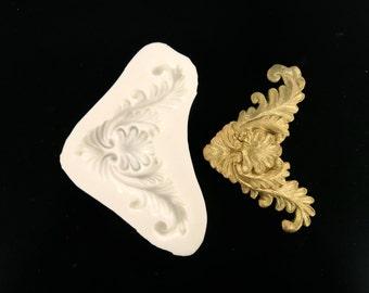 Baroque silicone mould, handmade vintage look mold.