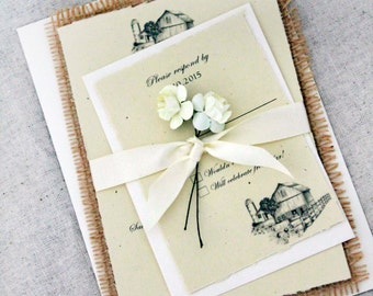 Burlap Wedding Invitations, Rustic Wedding Invitations, Barn Wedding Invites, Barn Wedding, Wedding Invitations, Recycled Stationary, Sample