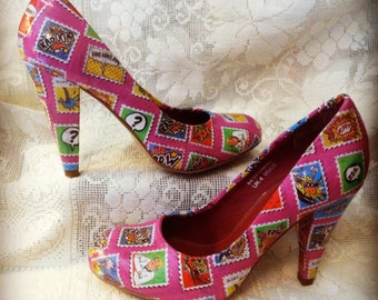Pink comic stamp decoupaged shoes UK 4 (37)