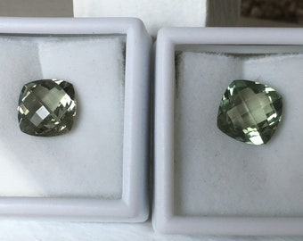 Prasiolite Green Amethyst Pair 11mm Each. Designer Cushion Cut