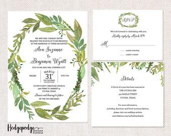 Greenery Wreath Wedding Invitation Suite - PRINTABLE