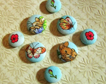 Peter Rabbit Fabric-Covered Button Magnets - Unique Baby Shower Gift - Beatrix Potter's Bunny Rabbits, Butterflies, and Flowers - Magnet Set