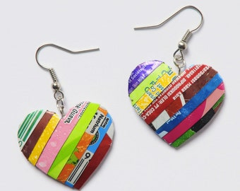 Heart shape earrings made of soda can - FREE SHIPPING - earth gifts - ethical gifts - upcycled recycled repurposed jewelry