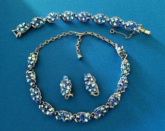 Gorgeous Vintage Blue/Purple Aurora Borealis AB Rhinestone Necklace Bracelet & Clip Earrings Set Parure