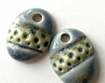 Ceramic Charms, Ceramic Earrings, Ceramic Pendant, Blue Earrings, Blue Pendants, Ceramic Jewelry, Etsy Jewelry