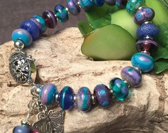SWEET VIOLETS, artisan lampwork and sterling silver bracelet
