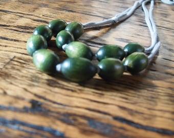 earthy green wooden bib necklace