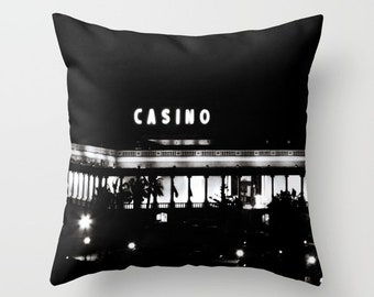 Casino Pillow, Black Pillow WITH Insert, Black and White Pillow, Man Cave Pillows, Man Cave Decor, Manly Gift, Casino Gifts, Gambling Gift