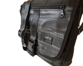 Black crossbody bag. Vegan Leather Messenger bag laptop man and woman. Waterproof cross body bag. Shoulder bag from recycled bike inner tube