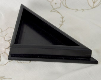 Real Ebony Wood Small Corner Valet / Desk Tray Divider Triangle Dish for Trinkets Cufflinks Studs Treasures Made in England Antique 1920s