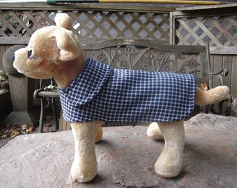 Dog Jacket- Navy Double Knit Houndstooth Coat- Size XX Small- 8 to 10 Inch Back Length