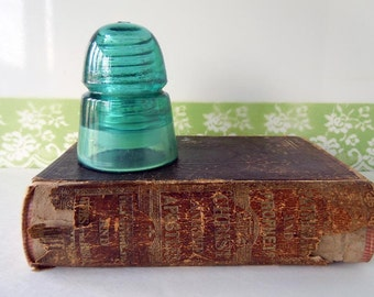 Vintage Glass Hemingray Insulator Beehive Blue Green Industrial Home Decor H G Co Bookend