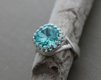 Light Turquoise Swarovski crystal ring - Adjustable silver plated ring - crown setting - Sparkly Statement ring - Ocean Blue