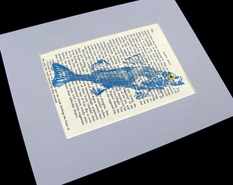 ORIGINAL Moby Dick GYOTAKU Blue Fish Art Rubbing on page text Cottage Decor by Barry Singer matted