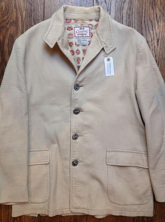 "Vintage 1960s 60s Campus off white corduroy sports jacket Ivy League style mod 46"" chest"