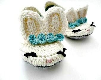 Women's Slippers - crochet bunny slippers - womens shoes - crochet knit bunny slippers - white blue gray