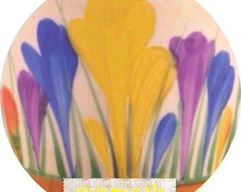 "Lovely Clarice Cliff Spring Crocus Yellow Orange Blue Purple flower design b design 23cm or 9"" round placemat table mat server centrepiece"