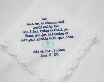Welcoming Me Into Your Family-The Man I Love Today - Lace Handkerchief Gift to Mother of Groom