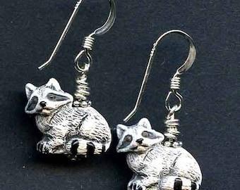 Rickie the Racoon Sterling Silver Earrings
