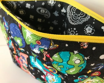 Handmade Space Travel Clutch Bag, Lined Zippered Pouch, Handmade Makeup Bag, Perfect Fun Clutch, Gift for Her, Travel Bag