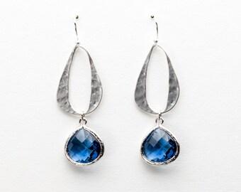 Blue Sapphire Oval Link Earrings, Drop Earrings, Dangle Earrings, Wedding Jewelry, Bridesmaid Jewelry, Mother's Day
