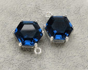 2 Hexagonal Montana Blue Crystal Glass Pendant, 18mm, Silver Plated over Brass Prong Setting. [A1020146]