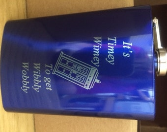 8 oz Electric Blue Doctor Who Tardis Flask - FREE SHIPPING!