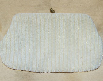 Vintage 50s 60s White Seed And Bugle Bead Evening Bag Purse - Made in Japan