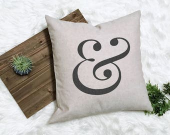 Ampersand Pillow - And Pillow - Farmhouse Pillow - Letter Pillow - Monogram Pillow - Newlywed Gift - Newlywed Pillow - Initial Pillow -