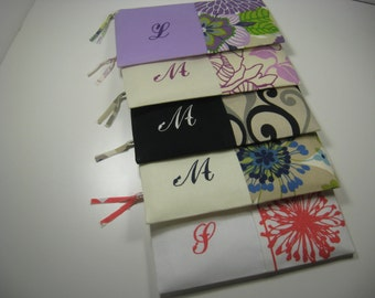 Set of 8 Embroidered Clutches, Personalized,  Pouches, Bridesmaid Clutch, Your Choice, Made To Order