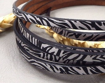 Zebra black and Silver 5mm flat leather high quality 20 cm