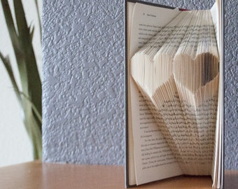 Two Hearts-Folded Book Art- Book Lover-Home Decor-