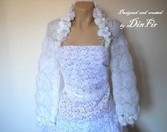 LIQUIDATION Stock 30% OFF Bridal Shrug Bolero Wedding Bridesmaid Accessories Hand Knitted Gift Women Crochet Jacket Cardigan Capelet White
