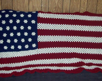American Flag Afghan Stars And Stripes Made To Order Custom Made Your Choices Of Shade Of Red White Blue Crochet  Patriotic Blanket