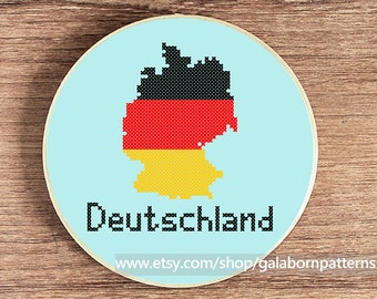 Germany map - Modern counted cross stitch pattern PDF - Deutschland - Flag